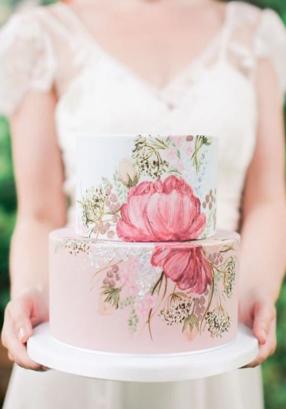 boho floral painted wedding cake