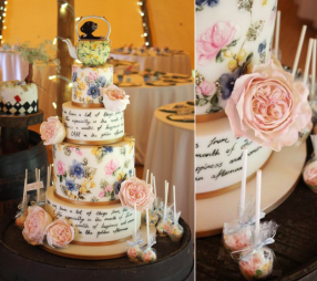 Alice in Wonderland Painted Wedding Cake