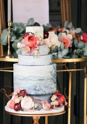 Dusky Blue landscape painted wedding cake with sugar flowers