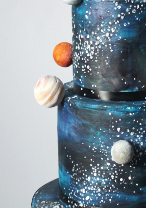 Space Cake buttercream and hand painted stars
