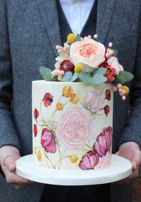 Painted cake with flowers
