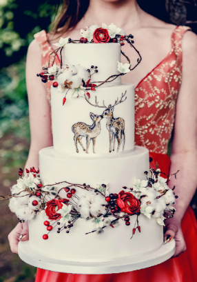 Painted doe and stag wedding cake