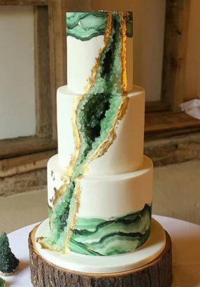 dark green geode wedding cake